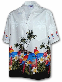 Parrot Island White Hawaiian Shirt