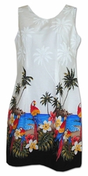 Parrot Island White Short Tank Hawaiian Dress