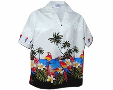 Parrot Island White Women's Hawaiian Shirt