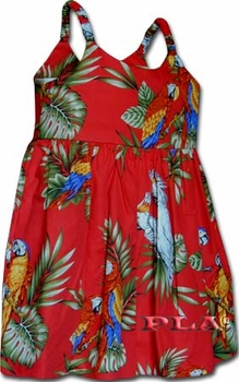 Parrots Red Girl's Bungee Dress