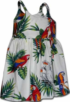 Parrots White Girl's Bungee Dress