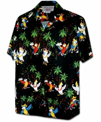 Party Parrots Black Hawaiian Shirt