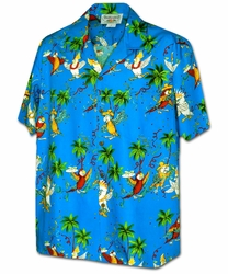Party Parrots Blue Hawaiian Shirt