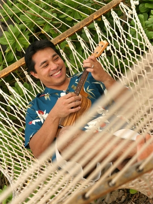 Playing Ukulele in Hammock