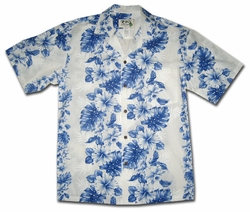 Royal Hibiscus White Hawaiian Shirt