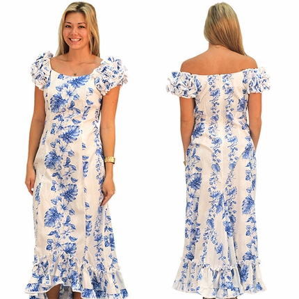 Royal Hibiscus White Ruffle Shoulder Muumuu