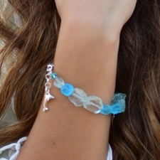 Sea Glass Blue Charm Bracelet