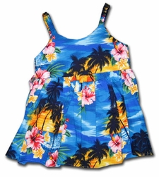 Sunset at the Beach Blue Girl's Bungee Dress