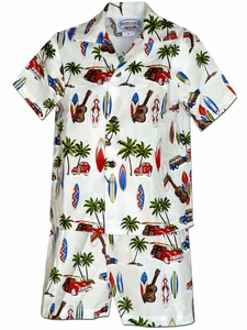 Surfer's Anthem White Boy's Hawaiian Shirt and Shorts