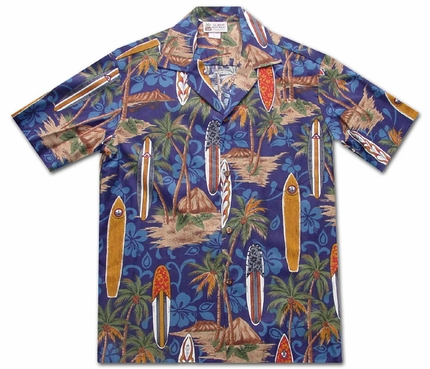 Surfing Safari Navy Hawaiian Shirt