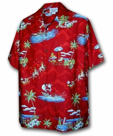 Surfing Santa Red Hawaiian Shirt