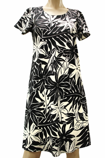 Tahitian Garden Black A-Line Dress with Cap Sleeves