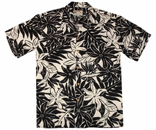 Tahitian Garden Black Hawaiian Shirt