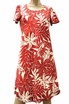 Tahitian Garden Red A-Line Dress with Cap Sleeves