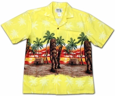 Tall Tikis Yellow Hawaiian Shirt