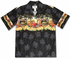 The Hawaiian Love Shack Black Hawaiian Shirt