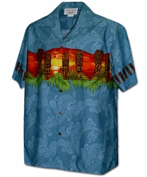 Tiki Guardian Blue Hawaiian Shirt