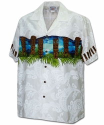 Tiki Guardian White Hawaiian Shirt