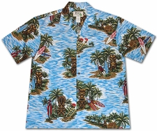 Tiki island Blue Hawaiian Shirt