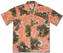 Tiki Island Orange Hawaiian Shirt