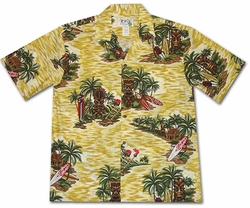 Tiki Island Yellow Hawaiian Shirt