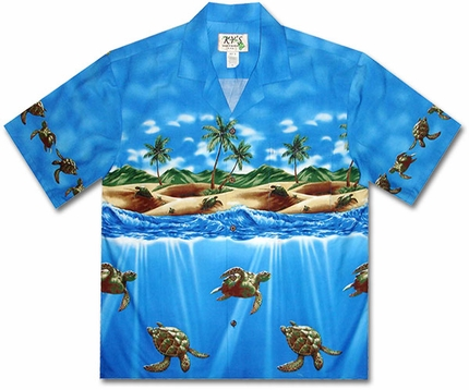 Totally Turtle Blue Hawaiian Shirt