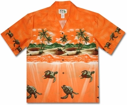 Totally Turtle Orange Hawaiian Shirt