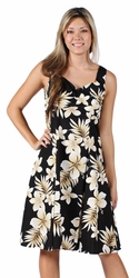 Tropic Fever Black Tank Flounce Dress