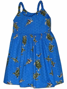 Turtle Time Blue Girl's Bungee Dress