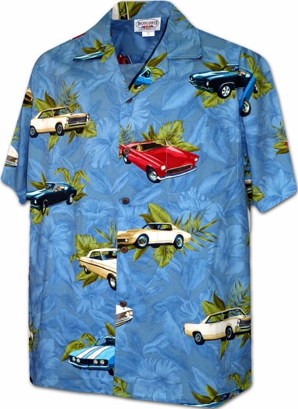 Vintage Cars Denim Hawaiian Shirt