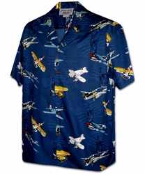 Vintage Planes Navy Hawaiian Shirt