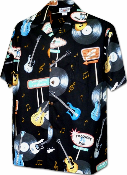 Vinyl Rock and Roll Black Hawaiian Shirt