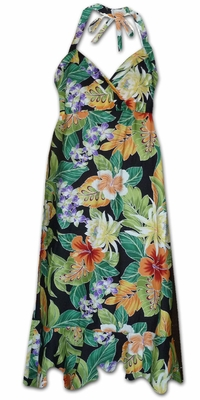 Vivacious Vibe Black Hawaiian Halter Dress