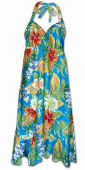 Vivacious Vibe Blue Hawaiian Halter Dress