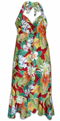 Vivacious Vibe Red Hawaiian Halter Dress