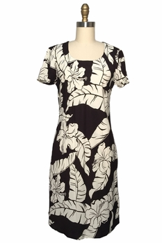 Wailea Hibiscus Black A-Line Dress with Cap Sleeves