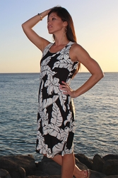 Wailea Hibiscus Black Tank Dress