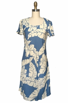 Wailea Hibiscus Blue A-Line Dress with Cap Sleeves