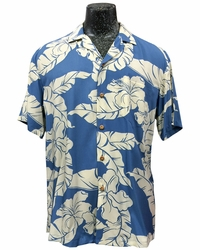 Wailea Hibiscus Blue Hawaiian Shirt