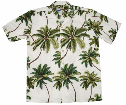 Waimea Palms White Hawaiian Shirt