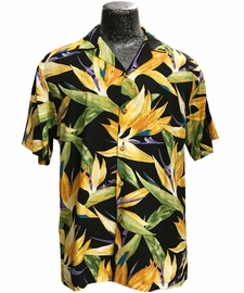 Watercolor Paradise Black Hawaiian Shirt