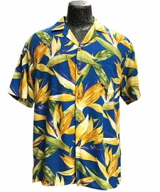 Watercolor Paradise Blue Hawaiian Shirt