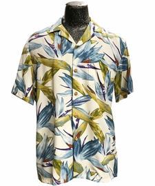 Watercolor Paradise Cream Hawaiian Shirt