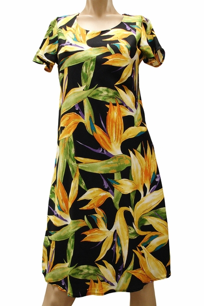 Watercolor Paradise Black A-Line Dress with Cap Sleeves