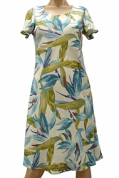 Watercolor Paradise Cream A-Line Dress with Cap Sleeves