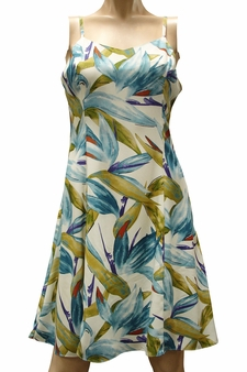 Watercolor Paradise Cream Hawaiian Slip Dress