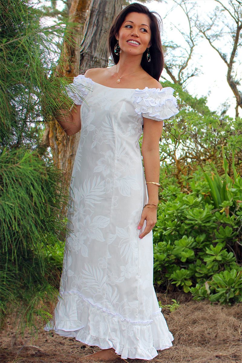 Wedding flower ruffle shoulder muumuu for Wedding dresses for hawaii