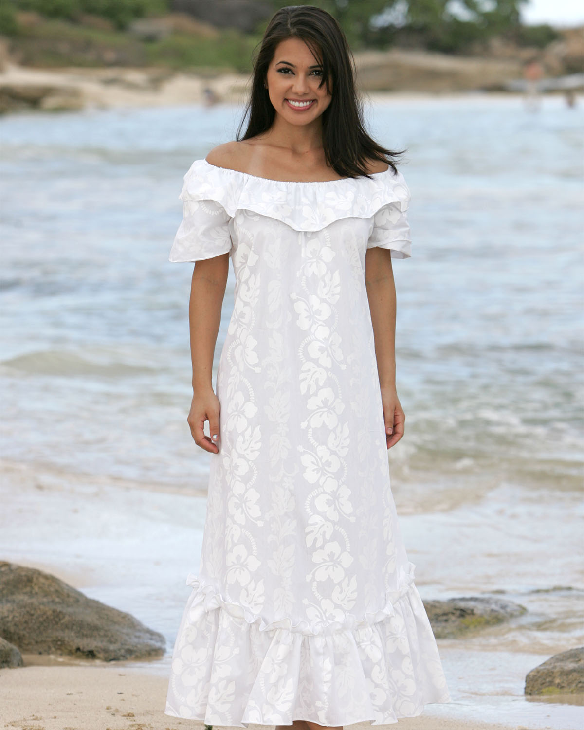 Wailea wedding white hibiscus muumuu for Wedding dresses for hawaii