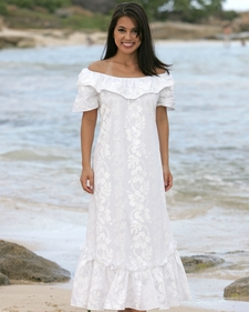 Wailea Wedding White Hibiscus Muumuu
