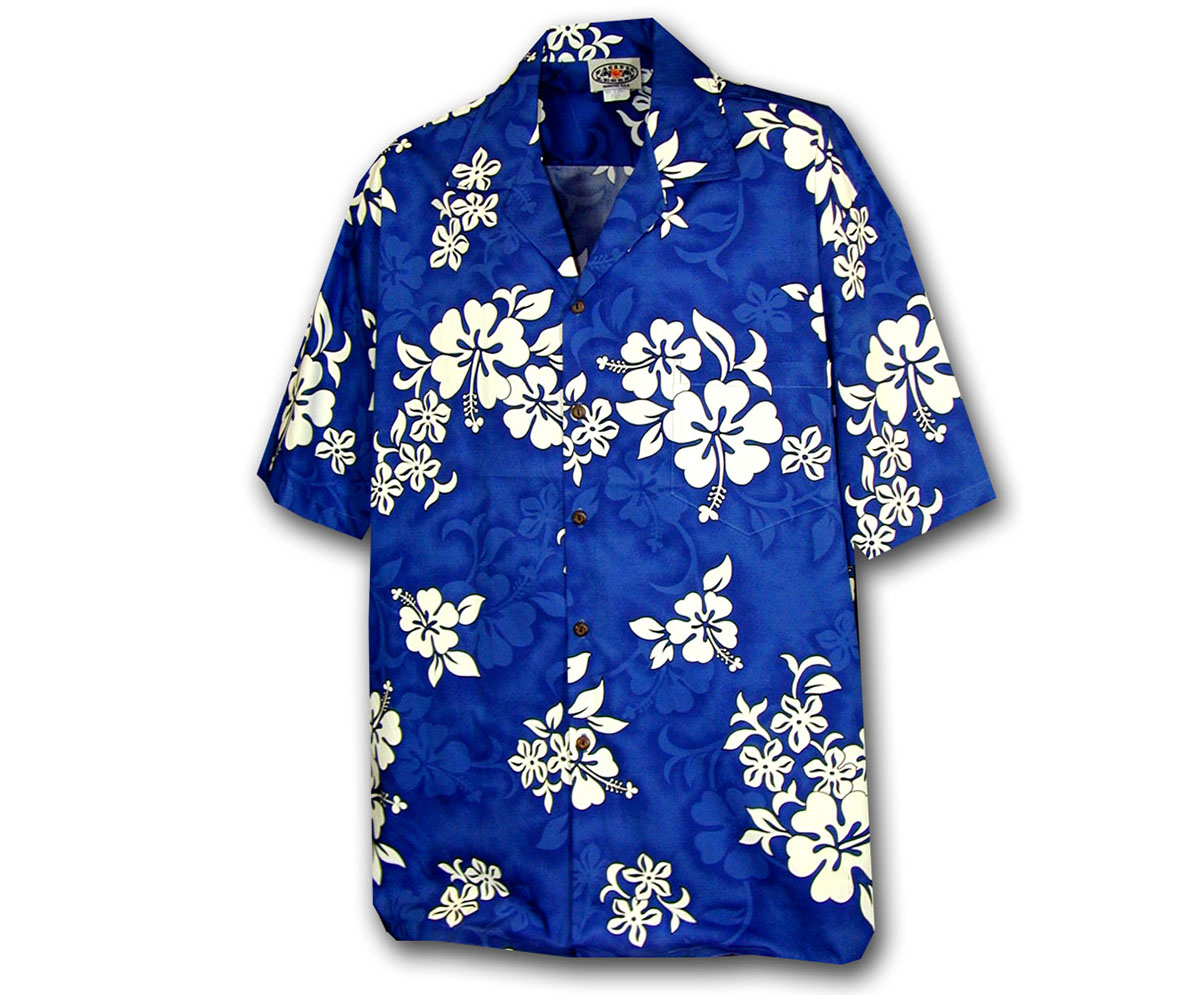 boy 39 s blue hawaiian shirt with white flowers aloha funwear